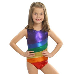 O3GL007 - Obersee Girl's Girls Gymnastics Leotard - Rainbow - Obersee