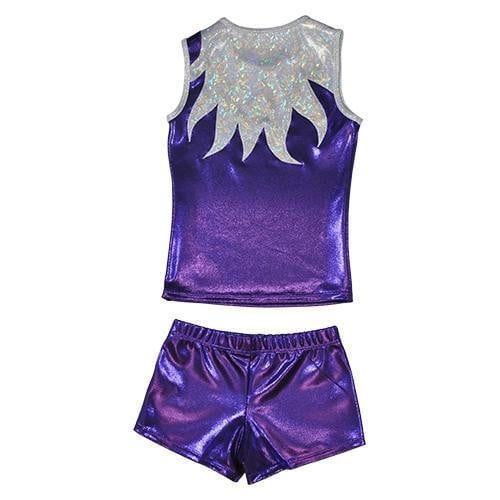 O3CHSET009 - Obersee Cheer Dance Tank and Shorts Set - Purple Flames - Obersee