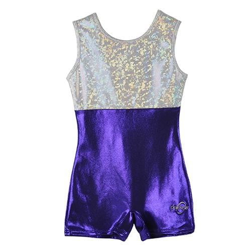 O3GL005 Obersee  Girl's Girls Gymnastics Biketard - Purple - Obersee
