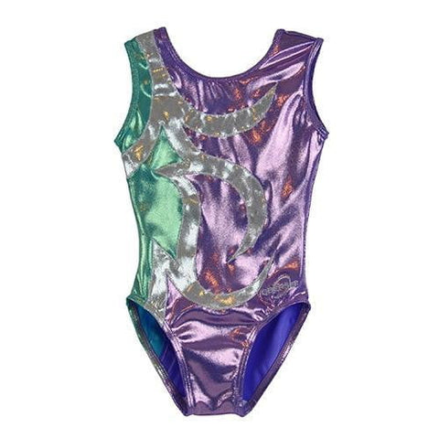 O3GL060 Obersee Girl's Girls Gymnastics Leotard - Purple Arcs