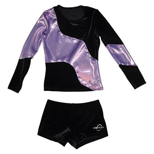 O3CHSET025 - Obersee Cheer Dance Tank and Shorts Set - Long Arm Lilac Swerve - Obersee