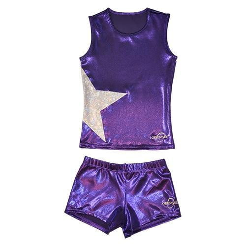 O3CHSET013 - Obersee Cheer Dance Tank and Shorts Set - Purple Star - Obersee