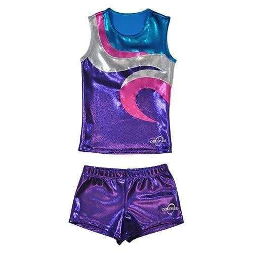 O3CHSET051 - Obersee Cheer Dance Tank and Shorts Set - Swirl Purple - Obersee