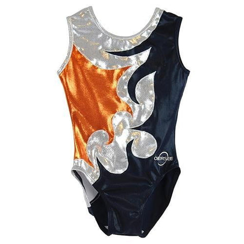 O3GL057 Obersee Girl's Girls Gymnastics Leotard - Silver Curve