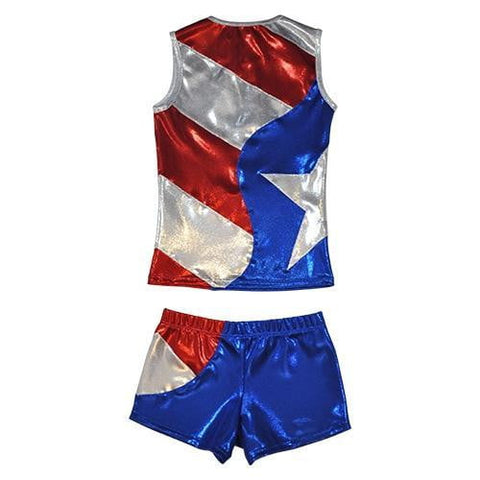 Image of O3CHSET024 - Obersee Cheer Dance Tank and Shorts Set - Flag - Obersee