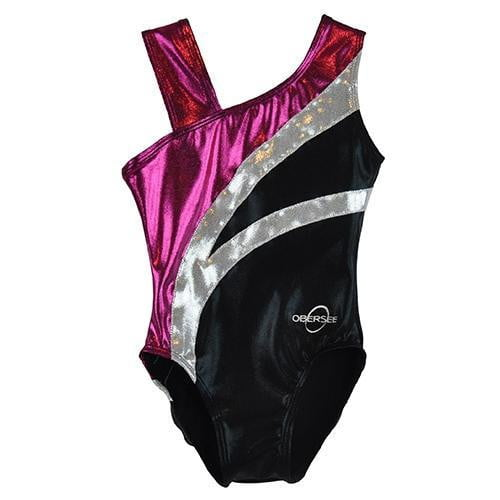 O3GL067 Obersee Girl's Girls Gymnastics Leotard - Black Arcs - Obersee