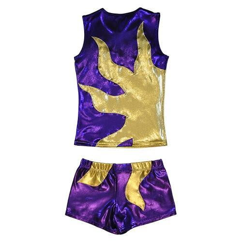 O3CHSET015 - Obersee Cheer Dance Tank and Shorts Set - Purple Sun - Obersee