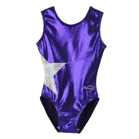 O3GL067 Obersee Girl's Girls Gymnastics Leotard - Black Arcs