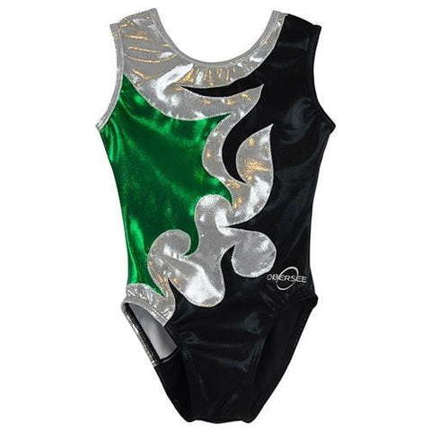 O3GL002 Obersee Girl's Girls Gymnastics Leotard - Green Chevron