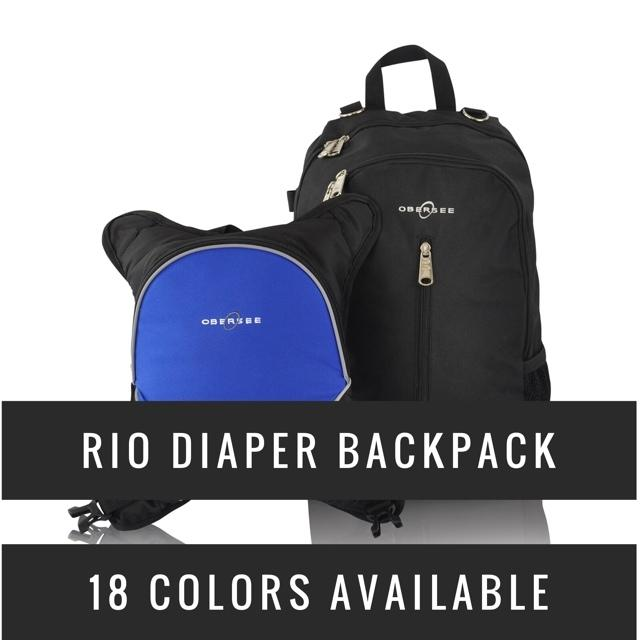 Obersee Rio Diaper Backpack with Detachable Bottle Cooler - Royal Blue