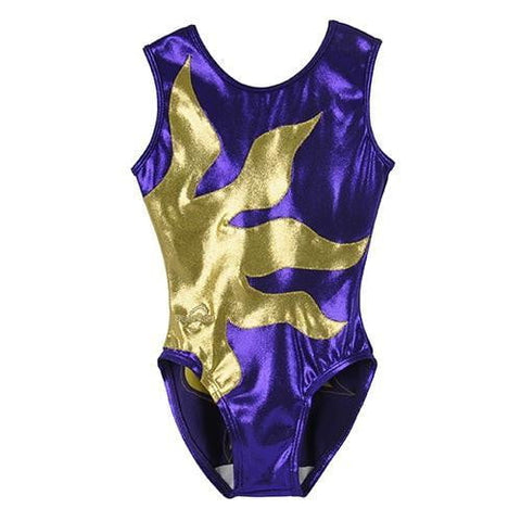 O3GL049 Obersee Girl's Girls Gymnastics Leotard - Spin Purple