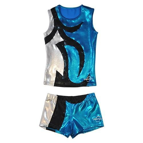 O3CHSET041 - Obersee Cheer Dance Tank and Shorts Set - Abby Turquoise - Obersee