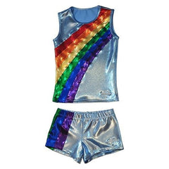 O3CHSET035 - Obersee Cheer Dance Tank and Shorts Set - Rainbow Arc - Obersee