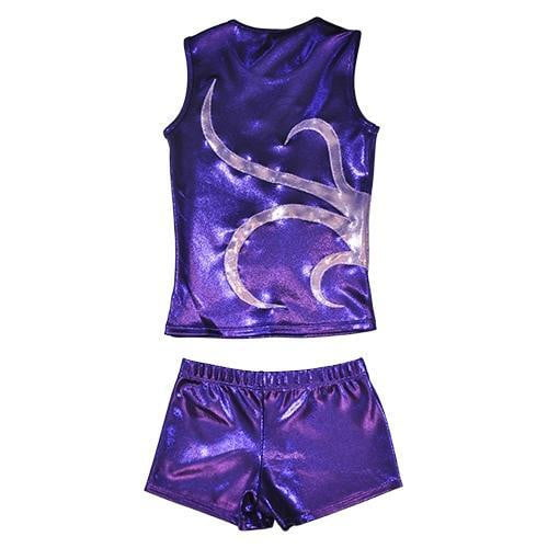 O3CHSET040 - Obersee Cheer Dance Tank and Shorts Set - Purple Strands - Obersee