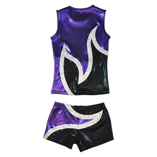 O3CHSET021 - Obersee Cheer Dance Tank and Shorts Set - Anya Black Purple - Obersee