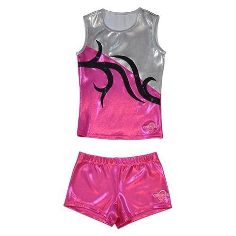 O3CHSET021 - Obersee Cheer Dance Tank and Shorts Set - Anya Black Purple