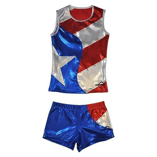 O3CHSET024 - Obersee Cheer Dance Tank and Shorts Set - Flag - Obersee
