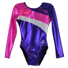 O3GL030 Obersee Girl's Girls Gymnastics Leotard - Long Arm Diagonal Purple - Obersee