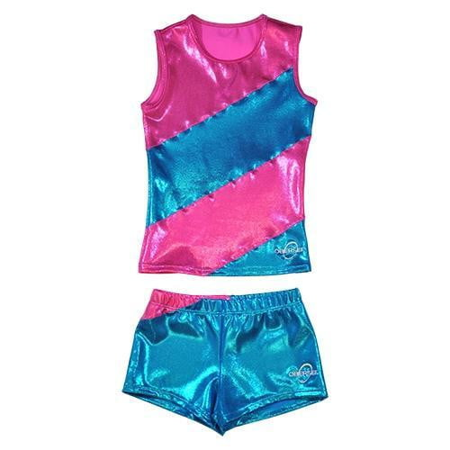 O3CHSET008 - Obersee Cheer Dance Tank and Shorts Set - Pink Diagonal - Obersee