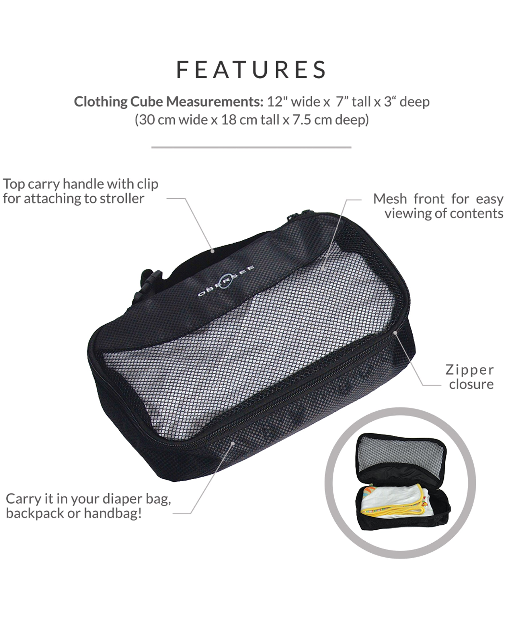 Obersee Diaper Bag Organizer with Clothing Cube | carry handle with clip for easy attachment to Baby Stroller | Black