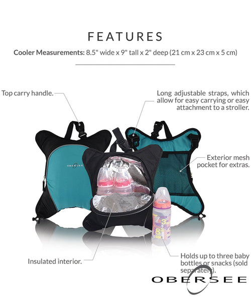Obersee Travel Baby Bottle Cooler Bag | Attachment for Obersee Diaper Backpack | Insulated Baby Tot Bottle Carrier