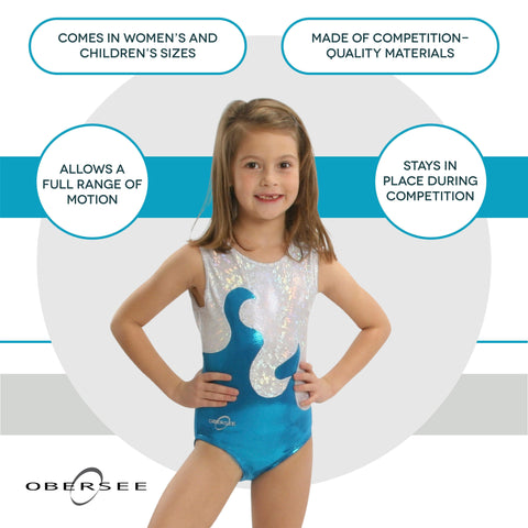 O3GL004 Obersee Girl's Girls Gymnastics Leotard - Turquoise Waves - Obersee