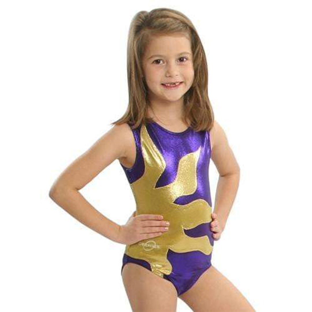 O3GL015 Obersee Girls Gymnastics Leotards One-Piece Athletic Activewear Girl's Dance Outfit Girls' & Women's Sizes - Purple Sun