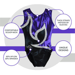 O3GL021 Obersee Girl's Girls Gymnastics Leotard - Anya Black Purple - Obersee