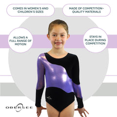 O3GL025 Obersee Girl's Girls Gymnastics Leotard - Long Arm Lilac Swerve - Obersee