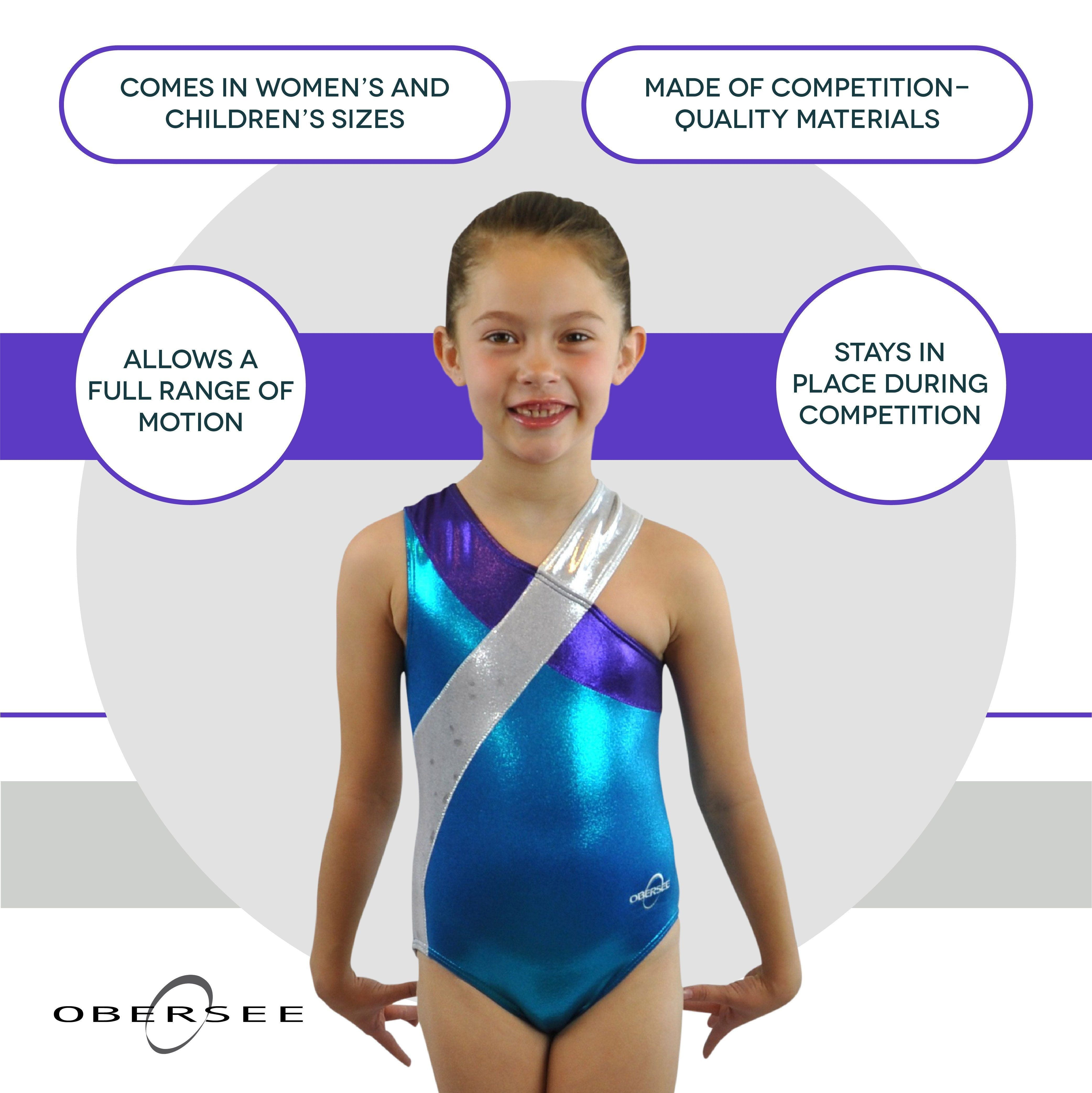 O3GL029 Obersee Girl's Girls Gymnastics Leotard - Molly Turquoise - Obersee