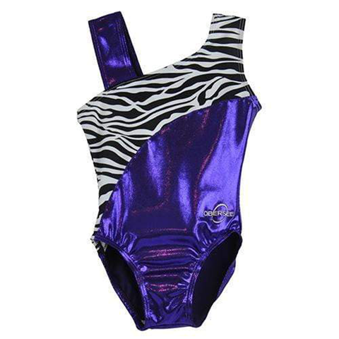 O3GL051 Obersee Girls Gymnastics Leotard One-Piece Athletic Activewear Girl's Dance Outfit Girls' & Women's Sizes - Swirl Purple