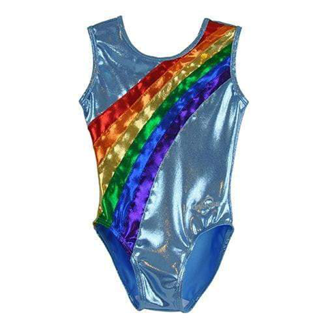 O3GL035 - Obersee Girls Gymnastics Leotard One-Piece Athletic Activewear Girl's Dance Outfit Girls' & Women's Sizes - Rainbow Arc