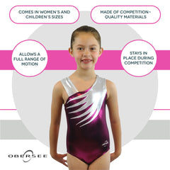 O3GL036 Obersee Girl's Girls Gymnastics Leotard - Pink Feather - Obersee