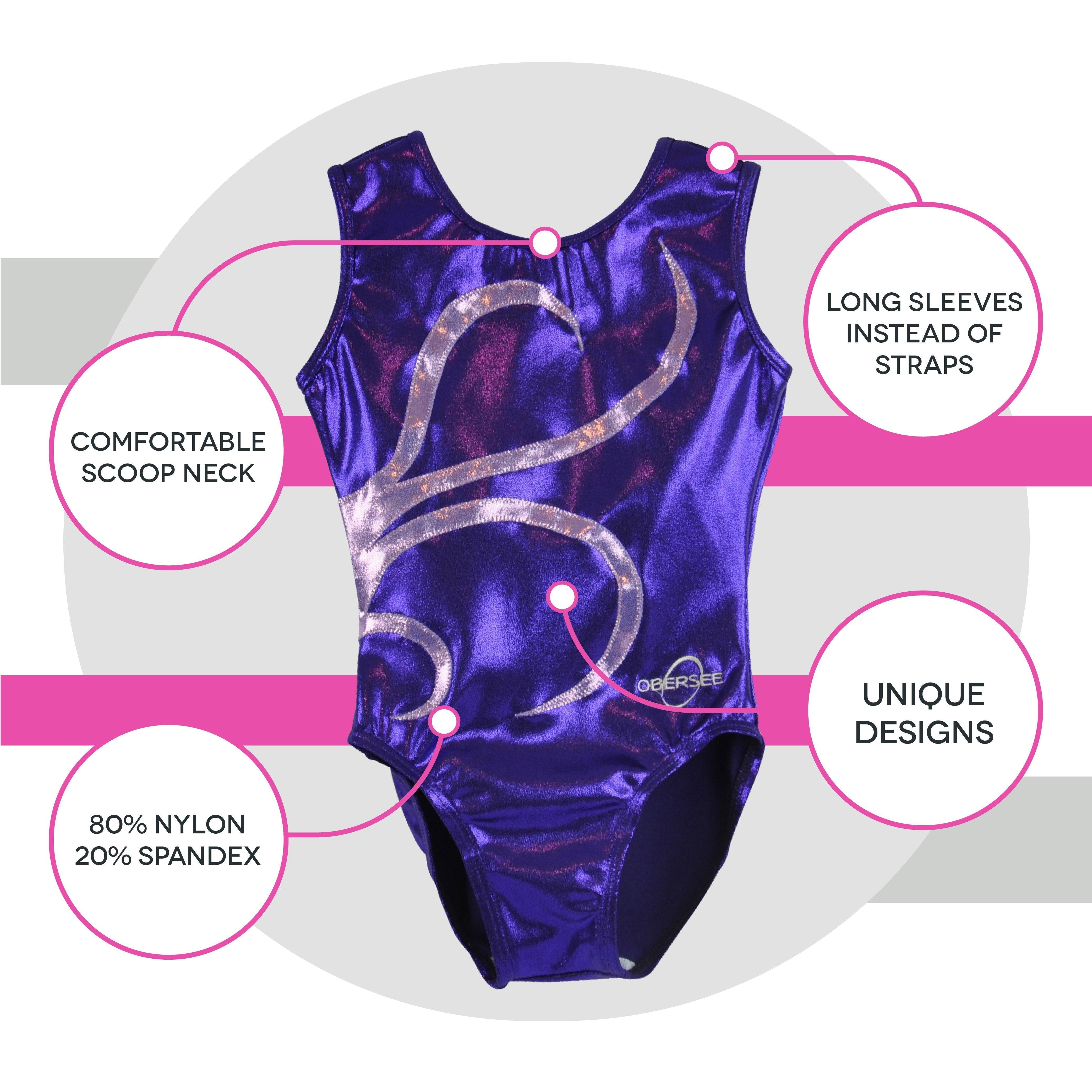 O3GL040 Obersee Girl's Girls Gymnastics Leotard - Purple Strands - Obersee