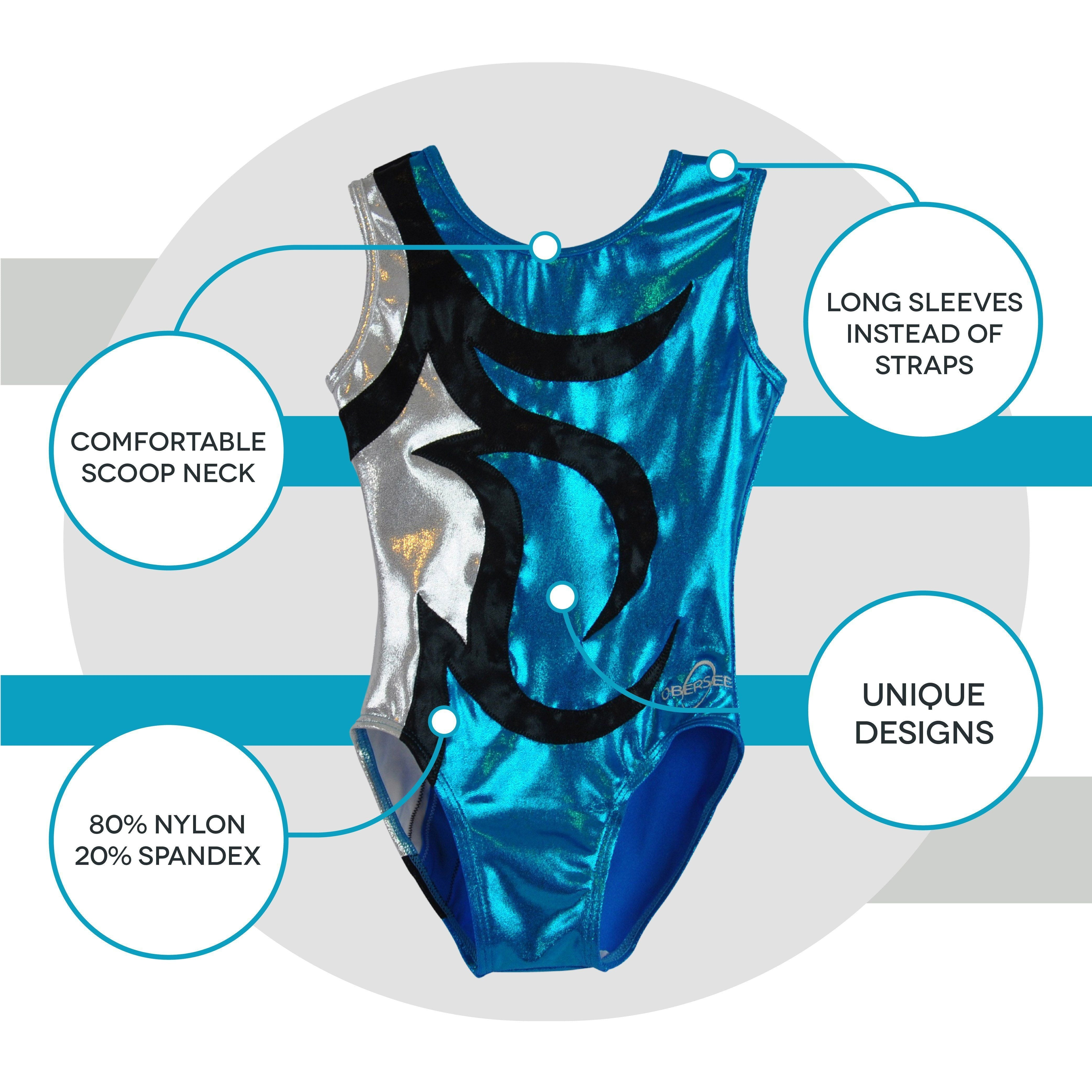 O3GL041 Obersee Girl's Girls Gymnastics Leotard - Abby Turquoise - Obersee