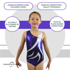 O3GL049 Obersee Girl's Girls Gymnastics Leotard - Spin Purple - Obersee