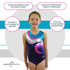 O3GL051 Obersee Girl's Girls Gymnastics Leotard - Swirl Purple - Obersee