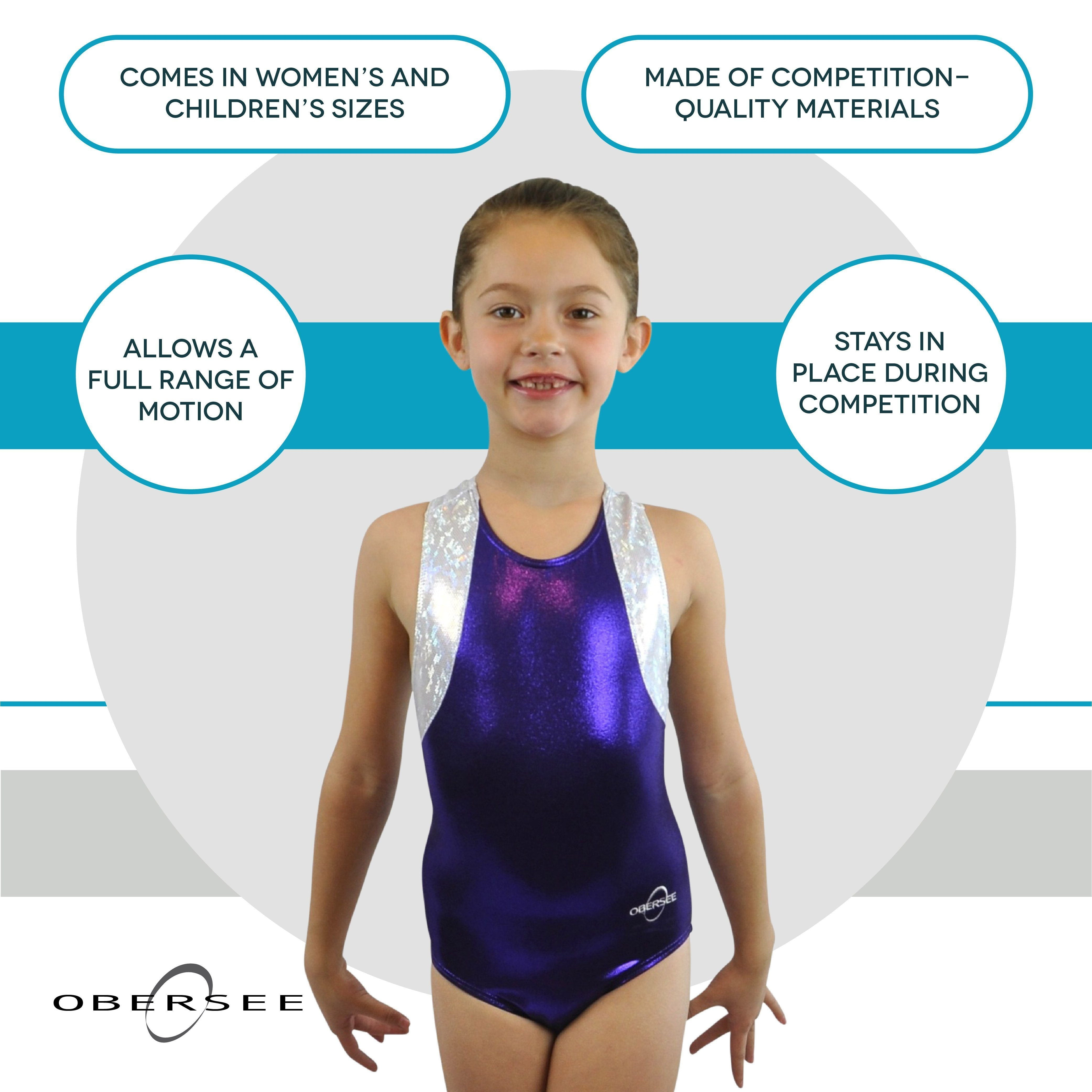 O3GL053 Obersee Girl's Girls Gymnastics Leotard - Cross Back Purple - Obersee