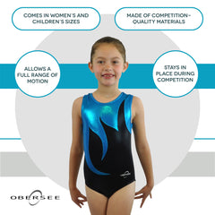 O3GL056 Obersee Girl's Girls Gymnastics Leotard - Black Mist - Obersee
