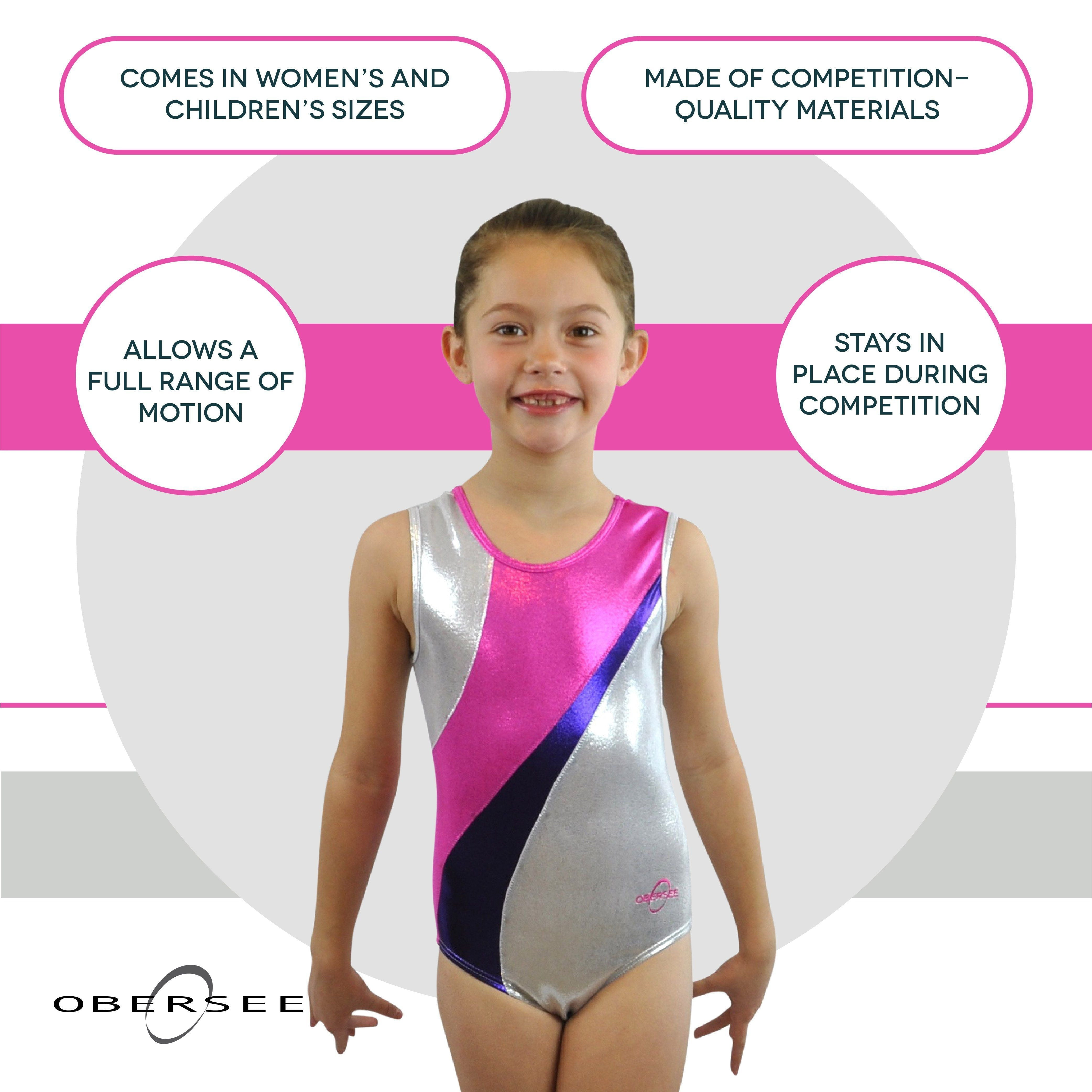 O3GL057 Obersee Girl's Girls Gymnastics Leotard - Silver Curve - Obersee