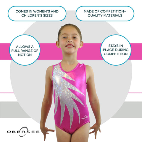 O3GL059 Obersee Girl's Girls Gymnastics Leotard - Pink Fern - Obersee