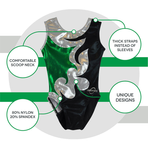 Image of O3GL064 Obersee Girl's Girls Gymnastics Leotard - Mia Green - Obersee