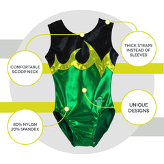 O3GL070 Obersee Girl's Girls Gymnastics Leotard - Ace Green - Obersee