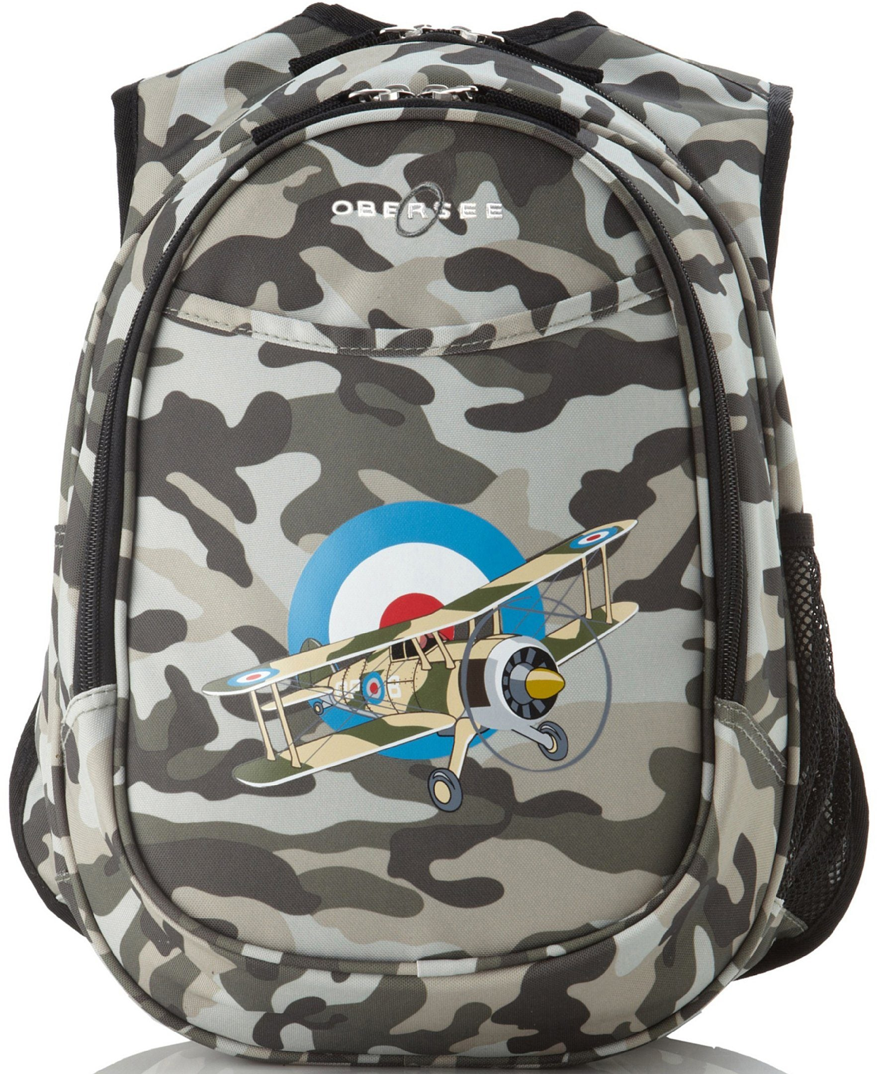 O3KCBP006 Obersee Mini Preschool All-in-One Backpack for Toddlers and Kids with integrated Insulated Cooler | Camo Camouflage Airplane