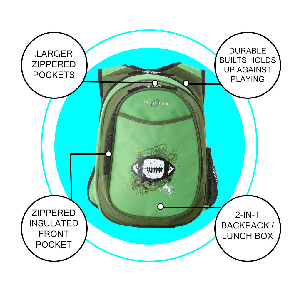 O3KCBP007 Obersee Mini Preschool All-in-One Backpack for Toddlers and Kids with integrated Insulated Cooler | Green Football