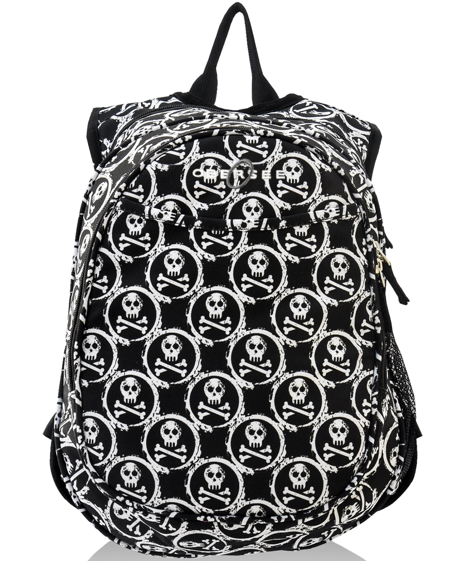 O3KCBP016 Obersee Mini Preschool All-in-One Backpack for Toddlers and Kids with integrated Insulated Cooler | Skulls