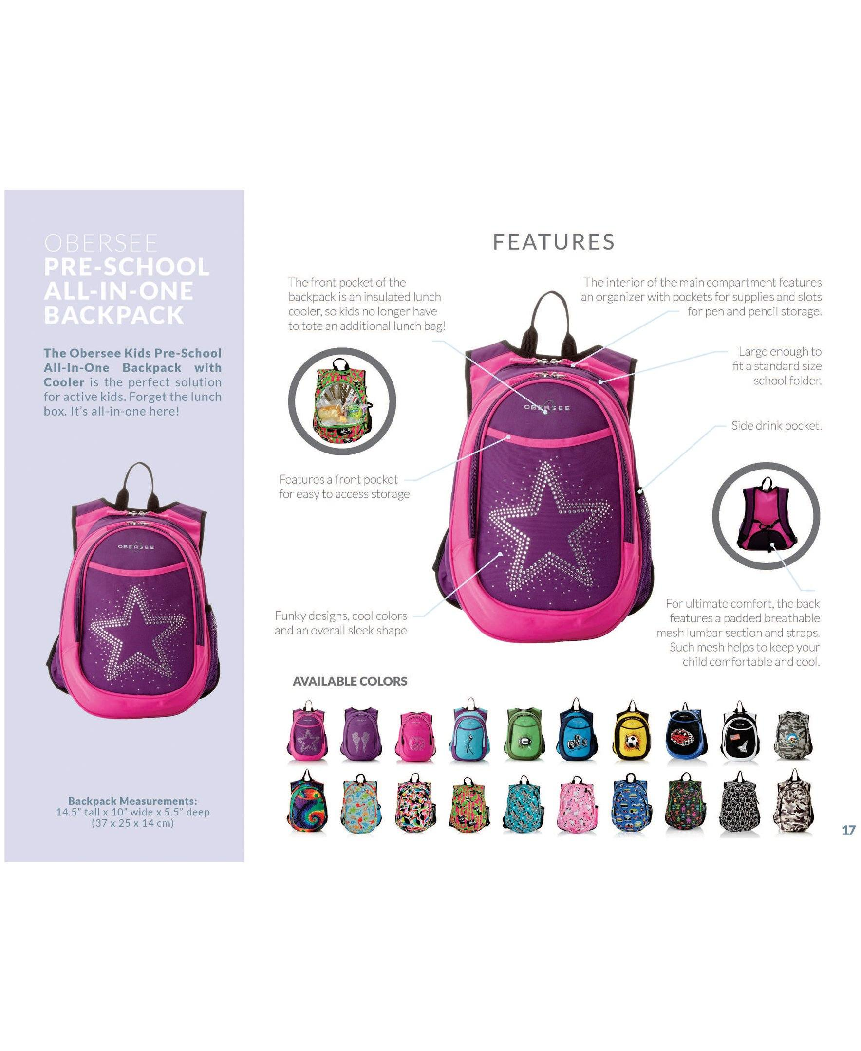 O3KCBP017 Obersee Mini Preschool All-in-One Backpack for Toddlers and Kids with integrated Insulated Cooler | Robots