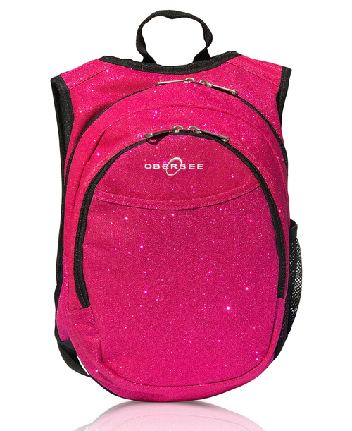 Obersee Mini Preschool Backpack for Girls with integrated Insulated Snack Cooler | Sparkle Pink Design