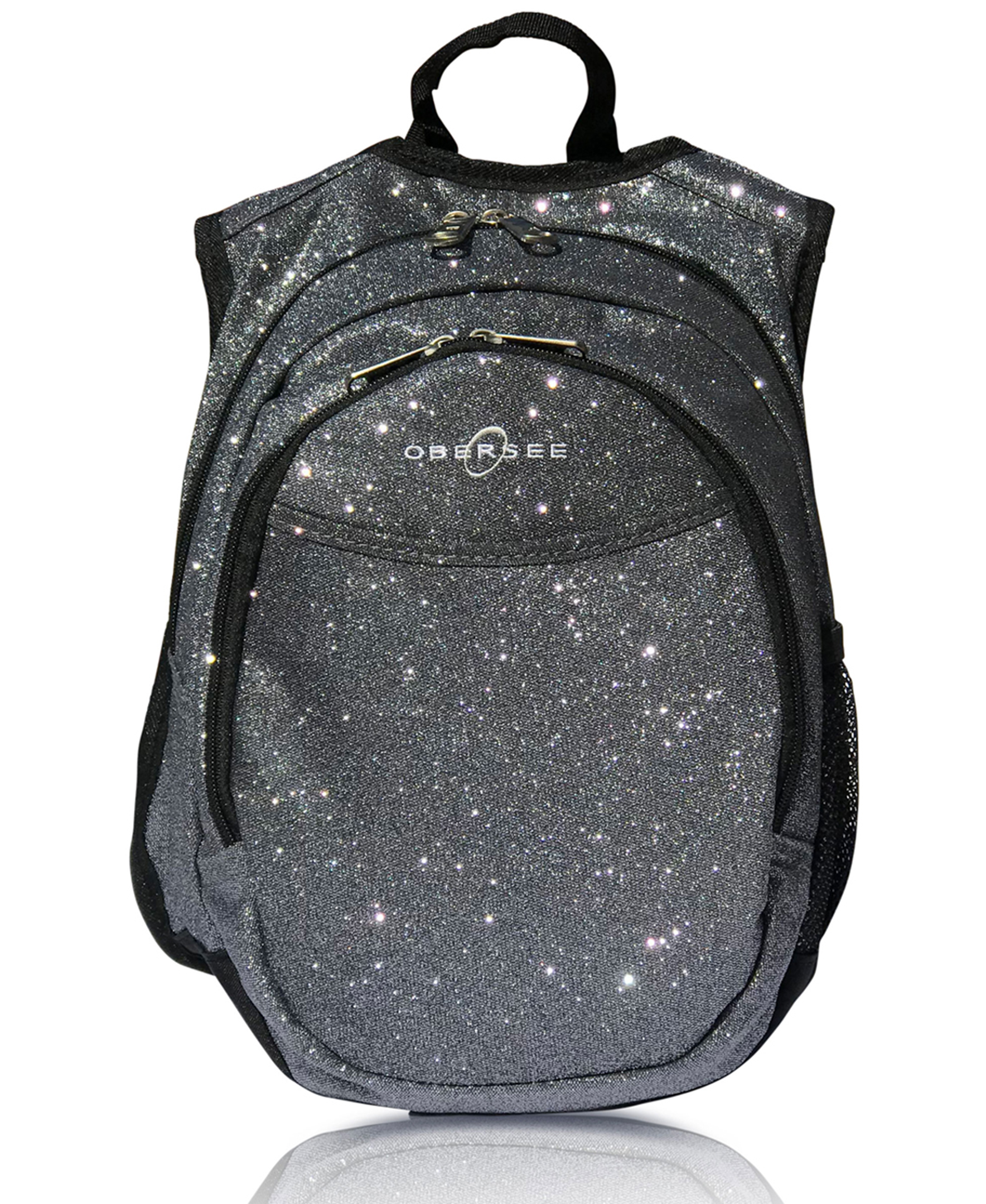Obersee Mini Preschool Backpack for Girls with integrated Insulated Snack Cooler | Sparkle Grey Design