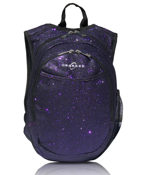 Obersee Mini Preschool Backpack for Girls with integrated Insulated Snack Cooler | Sparkle Purple Design